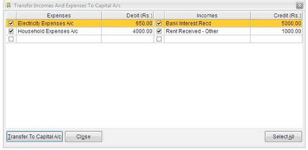 Transfer to capital account 1